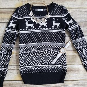 Black and white deer sweater